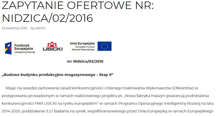 Zapytanie Ofertowe NR: Nidzica/02/2016 4