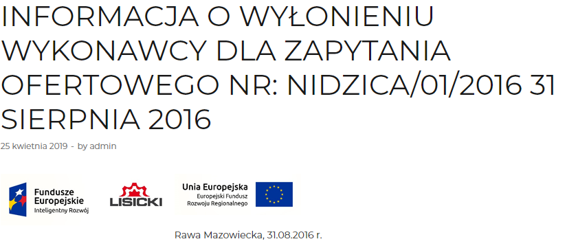INFORMATION ON THE FINDING OF THE CONTRACTOR FOR THE REQUEST FOR QUOTATION NO: NIDZICA/01/2016 31 AUGUST 2016 5