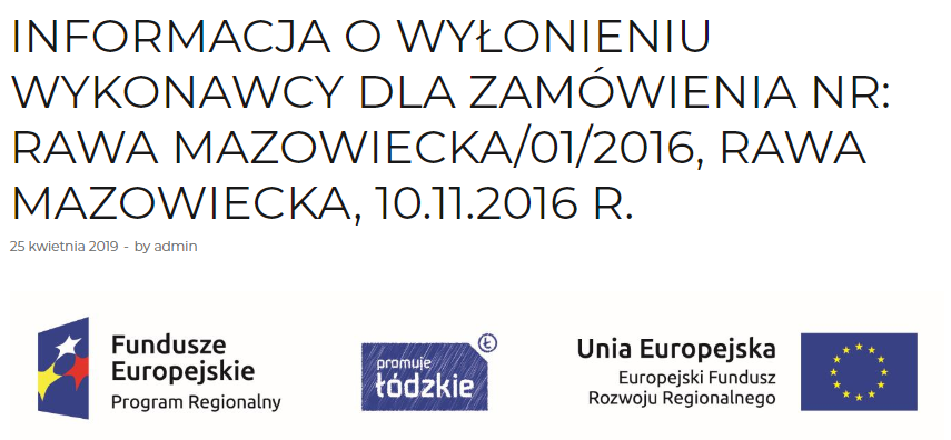 INFORMATION ON THE NOMINATION OF THE CONTRACTOR FOR THE ORDER NO.: RAWA MAZOWIECKA/01/2016, RAWA MAZOWIECKA, 10.11.2016 R. 8