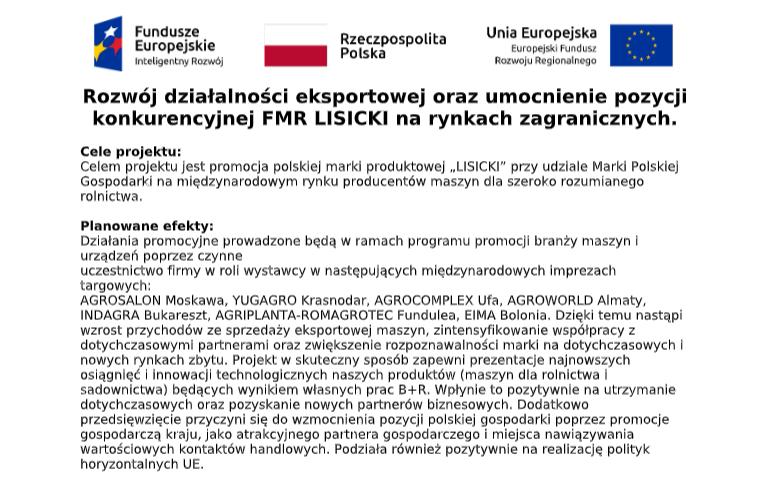 Rozwój działalności eksportowej oraz umocnienie pozycji konkurencyjnej FMR LISICKI na rynkach zagranicznych. 1